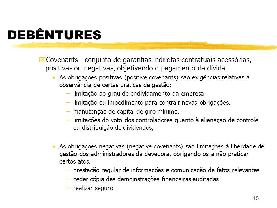 45 DEBÊNTURES xCovenants -conjunto de garantias indiretas contratuais acessórias, positivas ou negativas, objetivando o pagamento da dívida.