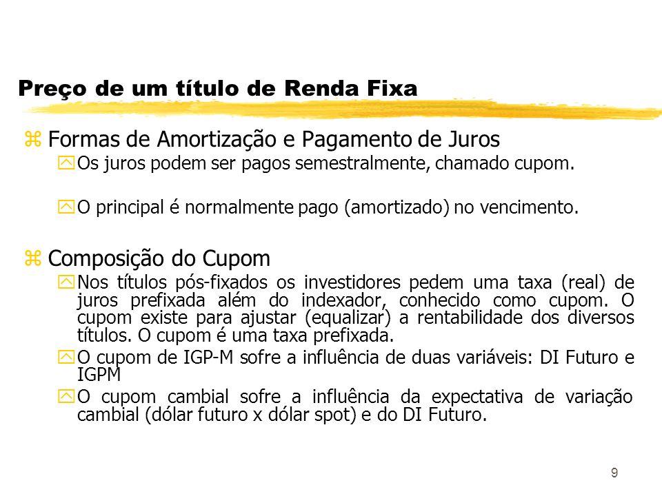 9 Preço de um título de Renda Fixa zFormas de Amortização e Pagamento de Juros yOs juros podem ser pagos semestralmente, chamado cupom.