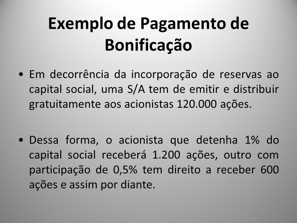 Exemplo de Pagamento de Bonificação Em decorrência da incorporação de reservas ao capital social, uma S/A tem de emitir e distribuir gratuitamente aos