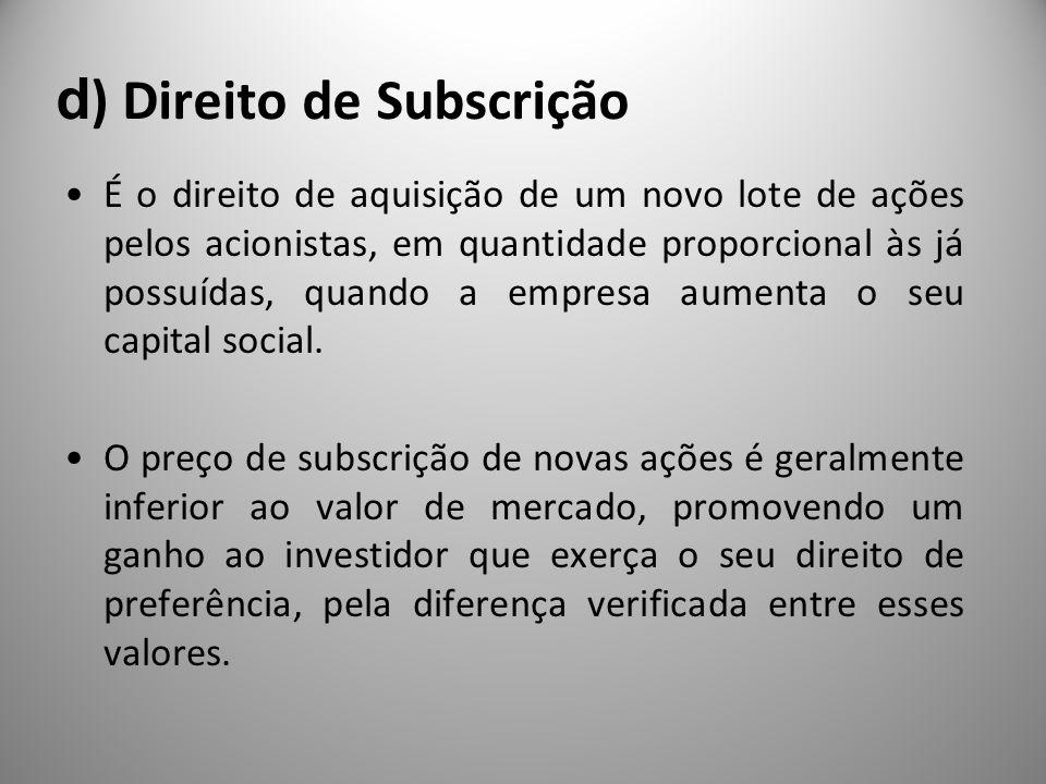 d ) Direito de Subscrição É o direito de aquisição de um novo lote de ações pelos acionistas, em quantidade proporcional às já possuídas, quando a emp