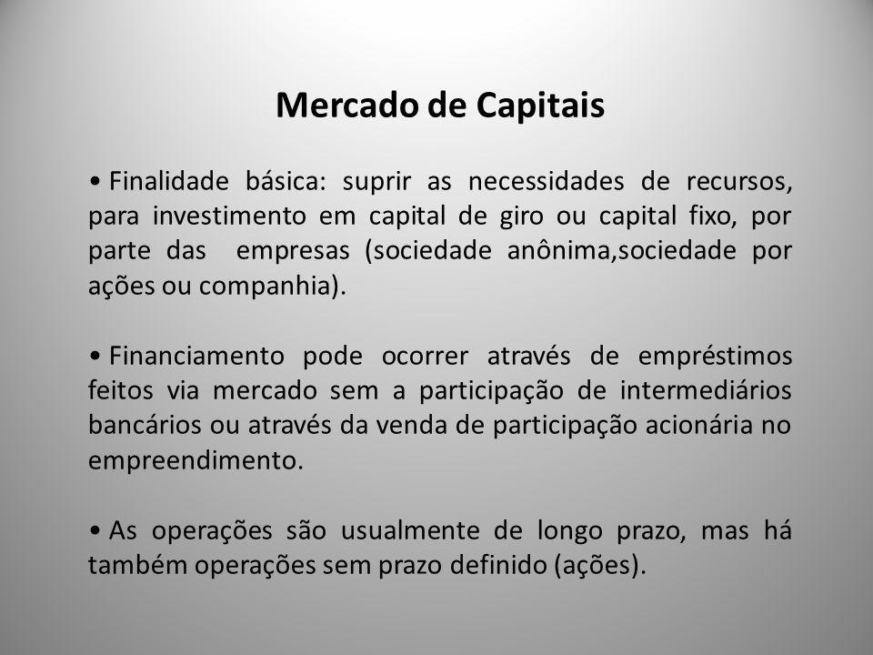 Mercado de Capitais Finalidade básica: suprir as necessidades de recursos, para investimento em capital de giro ou capital fixo, por parte das empresa