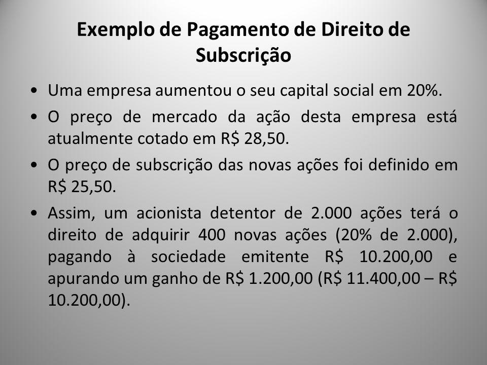 Exemplo de Pagamento de Direito de Subscrição Uma empresa aumentou o seu capital social em 20%. O preço de mercado da ação desta empresa está atualmen