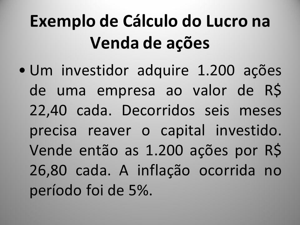Exemplo de Cálculo do Lucro na Venda de ações Um investidor adquire 1.200 ações de uma empresa ao valor de R$ 22,40 cada. Decorridos seis meses precis