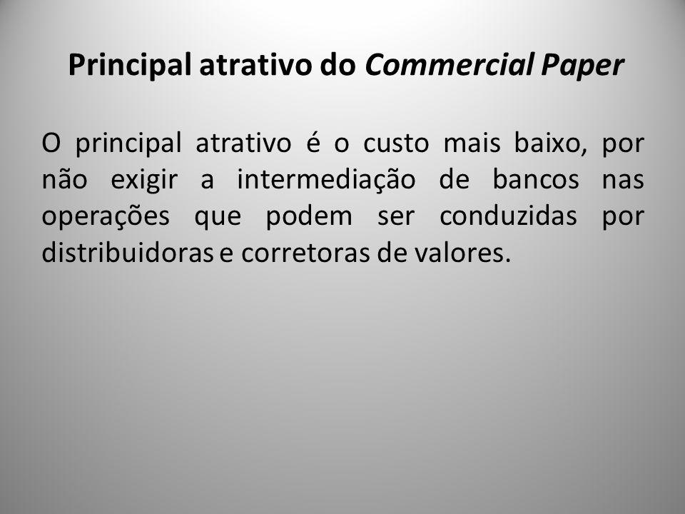 Principal atrativo do Commercial Paper O principal atrativo é o custo mais baixo, por não exigir a intermediação de bancos nas operações que podem ser