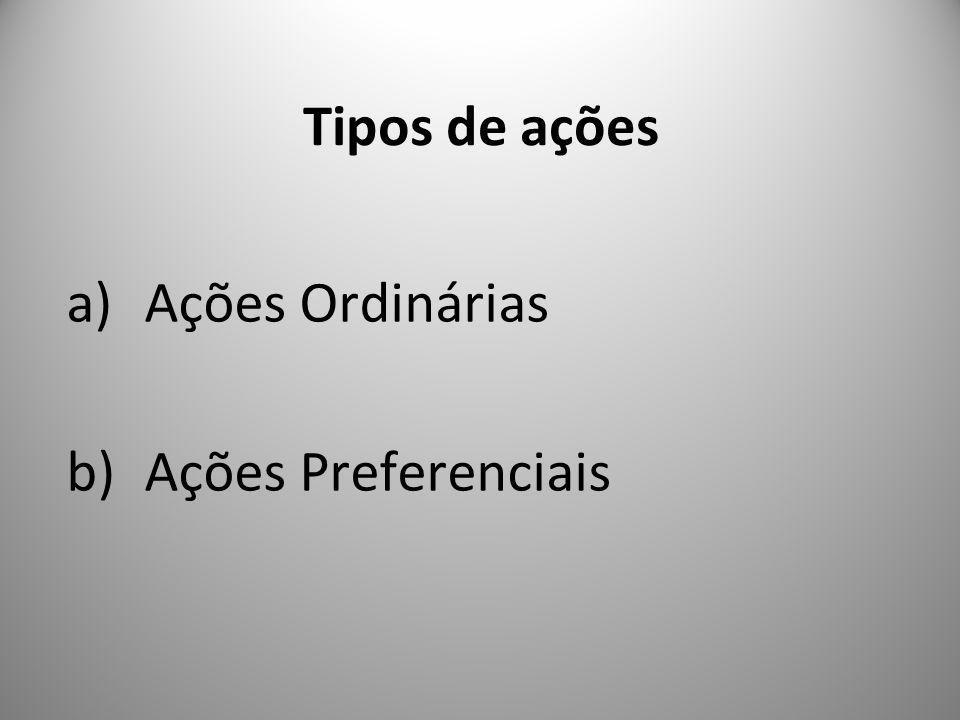 Tipos de ações a)Ações Ordinárias b)Ações Preferenciais