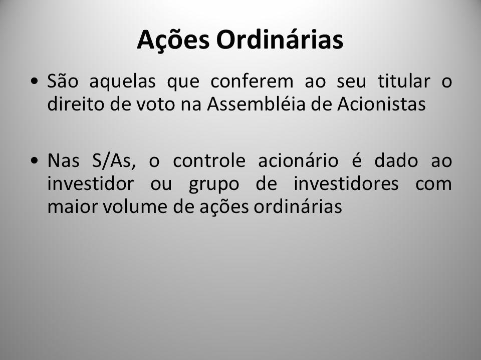 Ações Ordinárias São aquelas que conferem ao seu titular o direito de voto na Assembléia de Acionistas Nas S/As, o controle acionário é dado ao invest