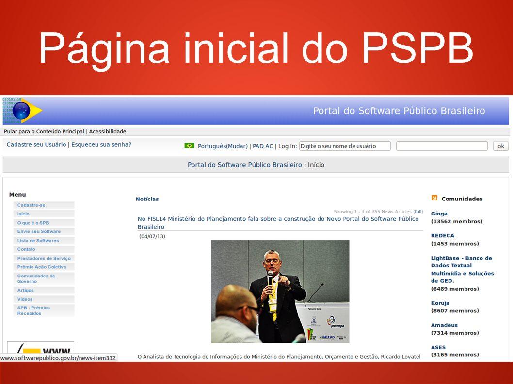 Página inicial do PSPB