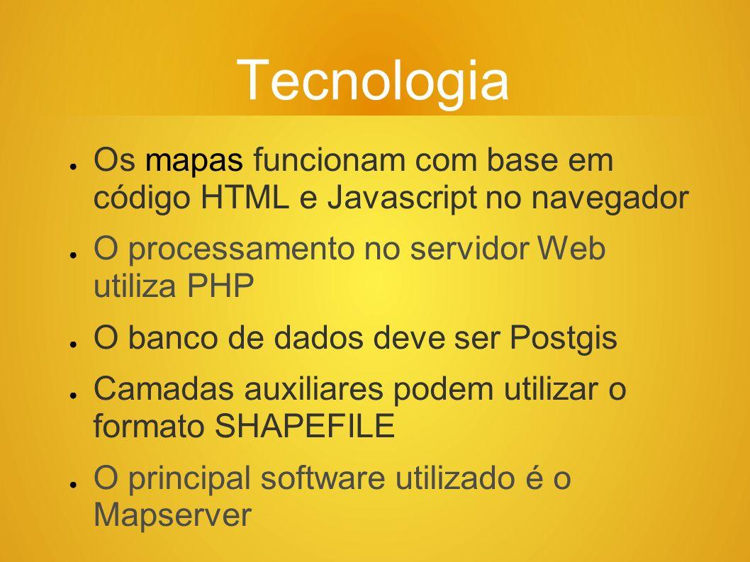Tecnologia Os mapas funcionam com base em código HTML e Javascript no navegador O processamento no servidor Web utiliza PHP O banco de dados deve ser