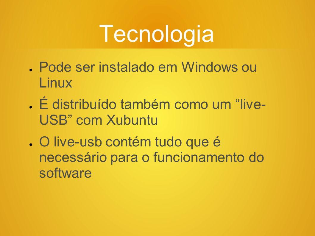 Tecnologia Pode ser instalado em Windows ou Linux É distribuído também como um live- USB com Xubuntu O live-usb contém tudo que é necessário para o fu