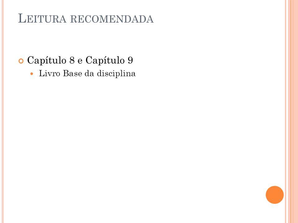 L EITURA RECOMENDADA Capítulo 8 e Capítulo 9 Livro Base da disciplina