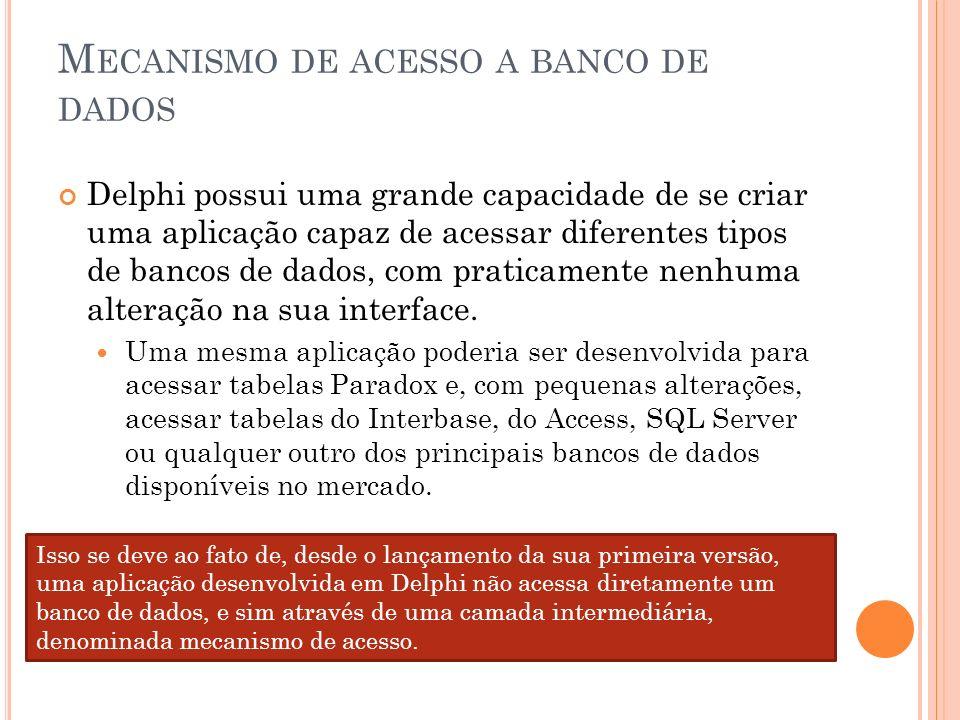M ECANISMO DE ACESSO A BANCO DE DADOS Delphi possui uma grande capacidade de se criar uma aplicação capaz de acessar diferentes tipos de bancos de dad