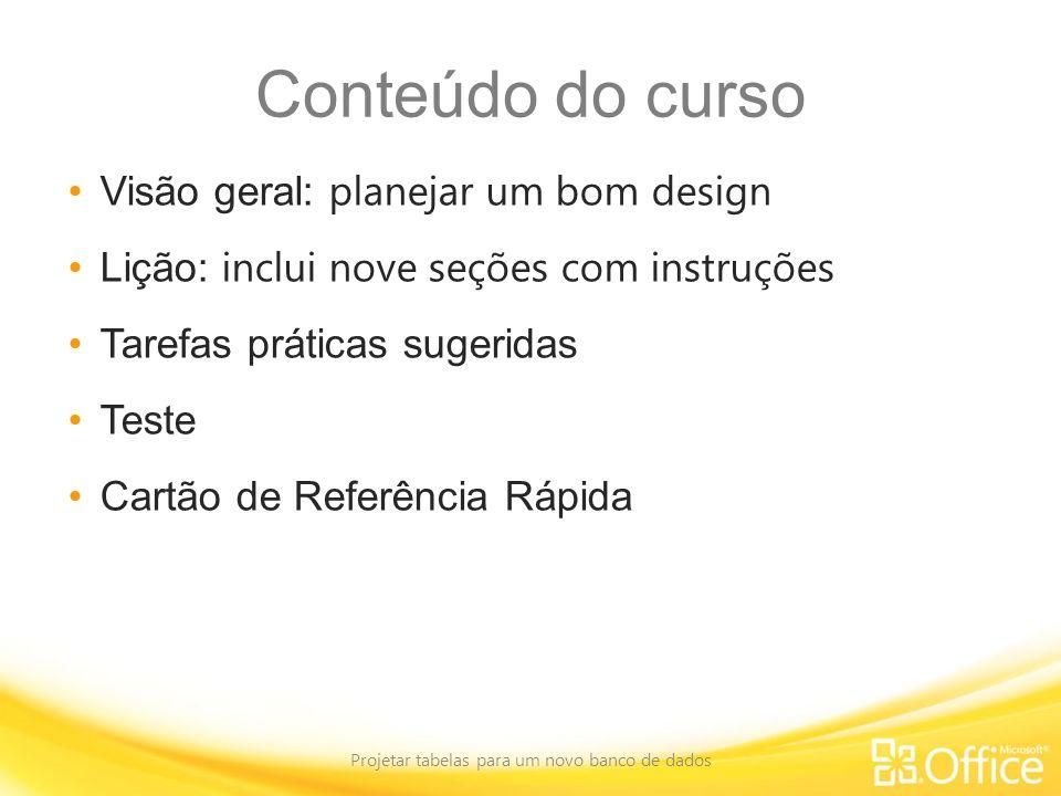Conteúdo do curso Visão geral: planejar um bom design Lição: inclui nove seções com instruções Tarefas práticas sugeridas Teste Cartão de Referência R