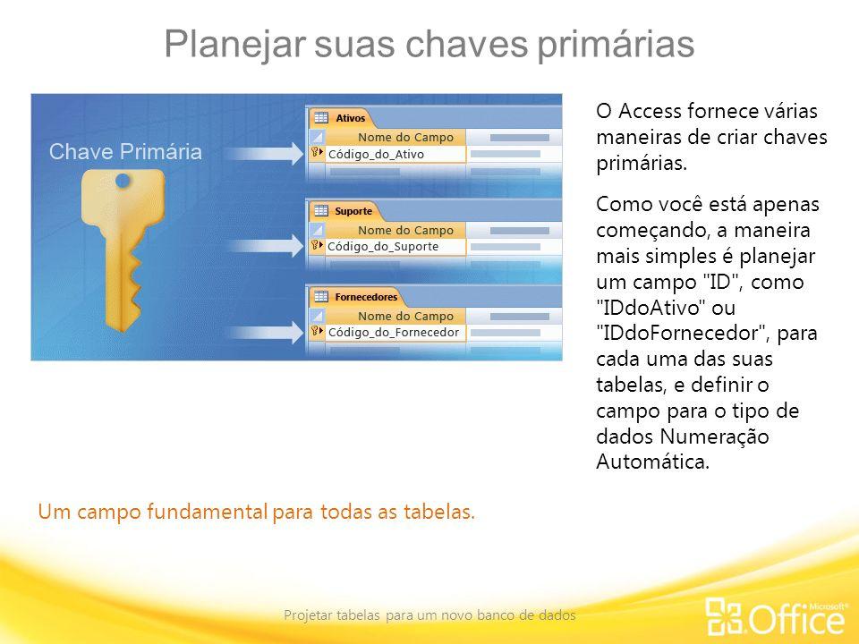 Planejar suas chaves primárias Projetar tabelas para um novo banco de dados Um campo fundamental para todas as tabelas. O Access fornece várias maneir