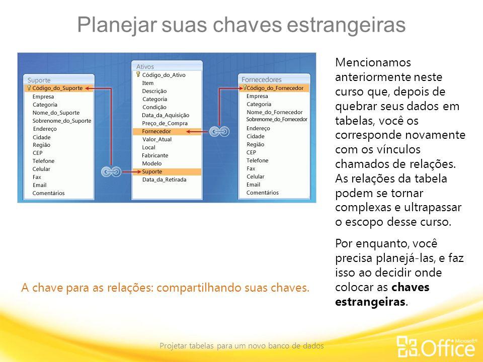 Planejar suas chaves estrangeiras Projetar tabelas para um novo banco de dados A chave para as relações: compartilhando suas chaves. Mencionamos anter