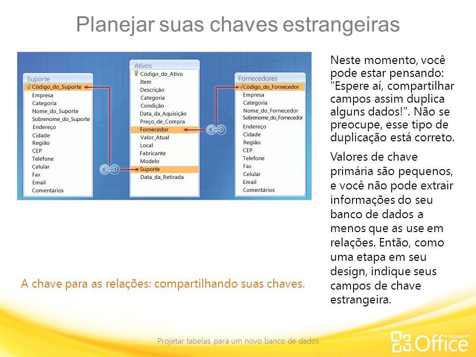Planejar suas chaves estrangeiras Projetar tabelas para um novo banco de dados A chave para as relações: compartilhando suas chaves. Neste momento, vo