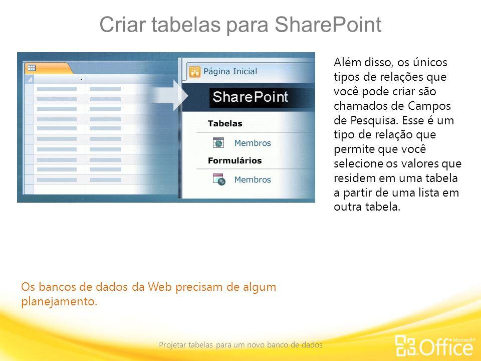 Criar tabelas para SharePoint Projetar tabelas para um novo banco de dados Os bancos de dados da Web precisam de algum planejamento. Além disso, os ún