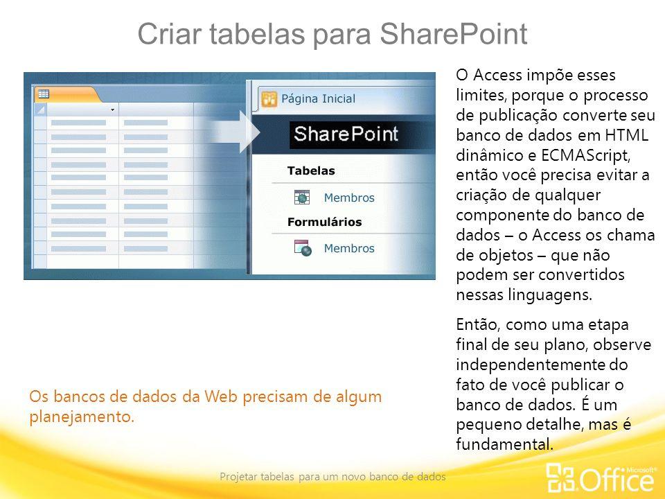 Criar tabelas para SharePoint Projetar tabelas para um novo banco de dados Os bancos de dados da Web precisam de algum planejamento. O Access impõe es