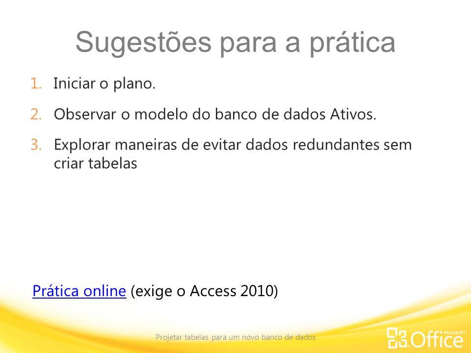 Sugestões para a prática 1.Iniciar o plano. 2.Observar o modelo do banco de dados Ativos. 3.Explorar maneiras de evitar dados redundantes sem criar ta