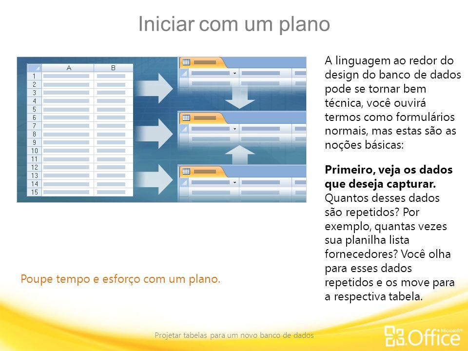 Iniciar com um plano Projetar tabelas para um novo banco de dados Poupe tempo e esforço com um plano. A linguagem ao redor do design do banco de dados