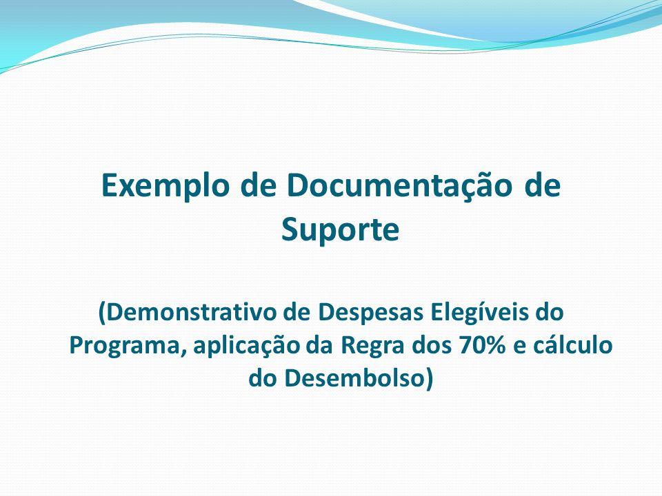 Exemplo de Documentação de Suporte (Demonstrativo de Despesas Elegíveis do Programa, aplicação da Regra dos 70% e cálculo do Desembolso)