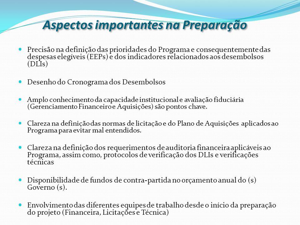 Precisão na definição das prioridades do Programa e consequentemente das despesas elegíveis (EEPs) e dos indicadores relacionados aos desembolsos (DLI