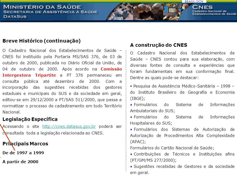 Legislação Específica O Cadastro Nacional dos Estabelecimentos de Saúde – CNES foi instituído pela Portaria MS/SAS 376, de 03 de outubro de 2000, publicada no Diário Oficial da União, de 04 de outubro de 2000.