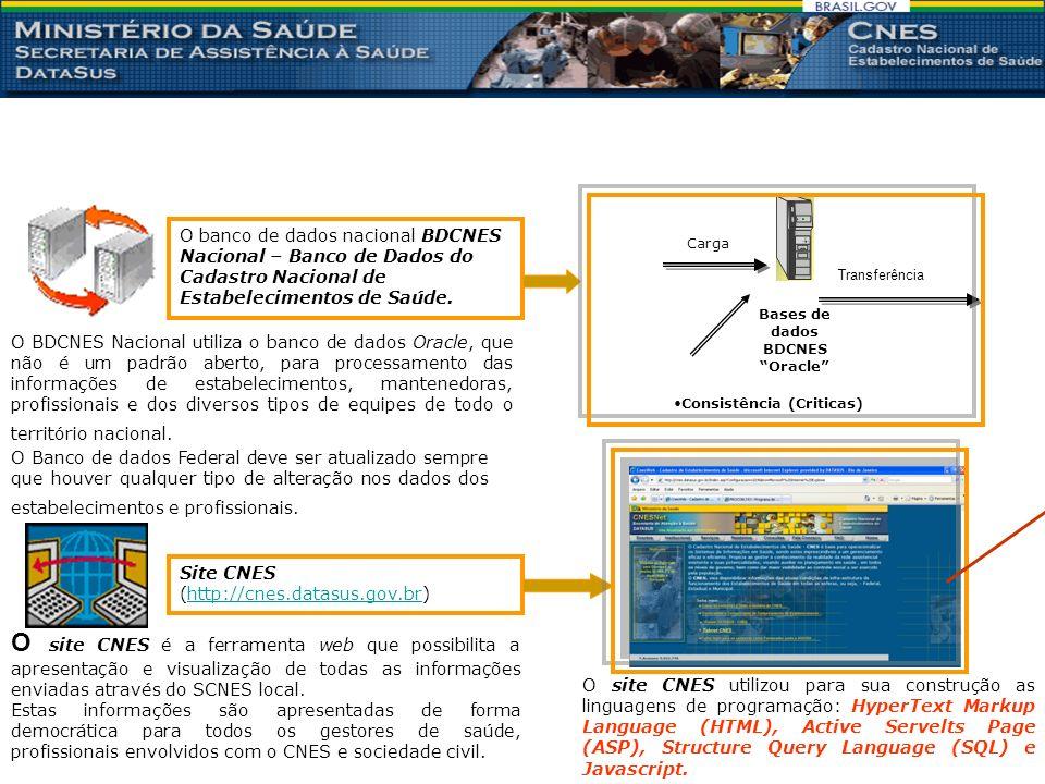 O banco de dados nacional BDCNES Nacional – Banco de Dados do Cadastro Nacional de Estabelecimentos de Saúde.