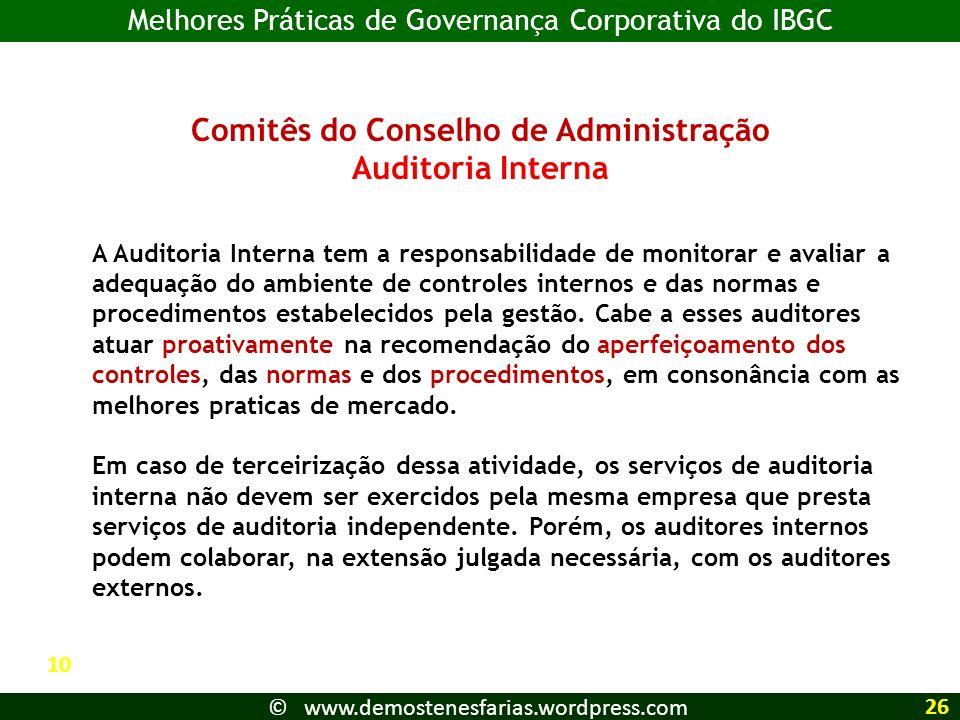 Comitês do Conselho de Administração Auditoria Interna A Auditoria Interna tem a responsabilidade de monitorar e avaliar a adequação do ambiente de co