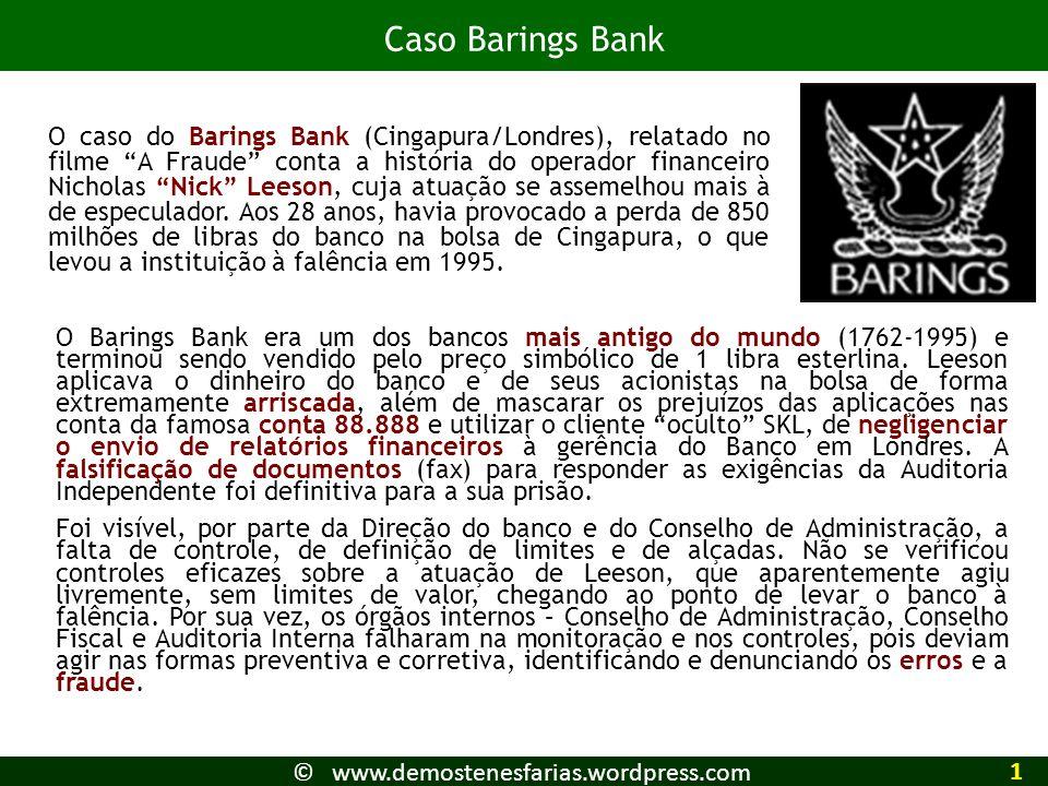 O Barings Bank era um dos bancos mais antigo do mundo (1762-1995) e terminou sendo vendido pelo preço simbólico de 1 libra esterlina. Leeson aplicava