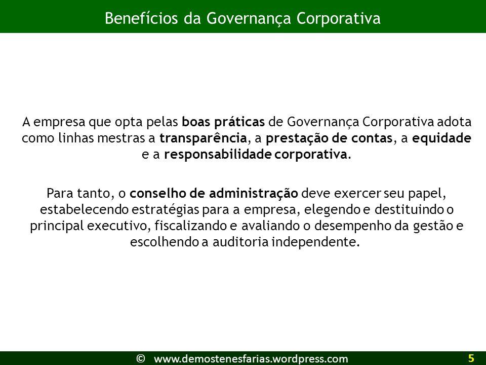 A empresa que opta pelas boas práticas de Governança Corporativa adota como linhas mestras a transparência, a prestação de contas, a equidade e a resp
