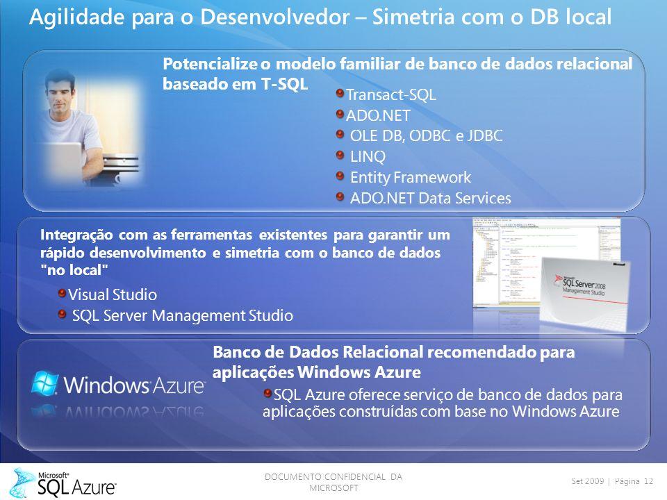 DOCUMENTO CONFIDENCIAL DA MICROSOFT Set 2009 | Página 12 Agilidade para o Desenvolvedor – Simetria com o DB local SQL Azure oferece serviço de banco d
