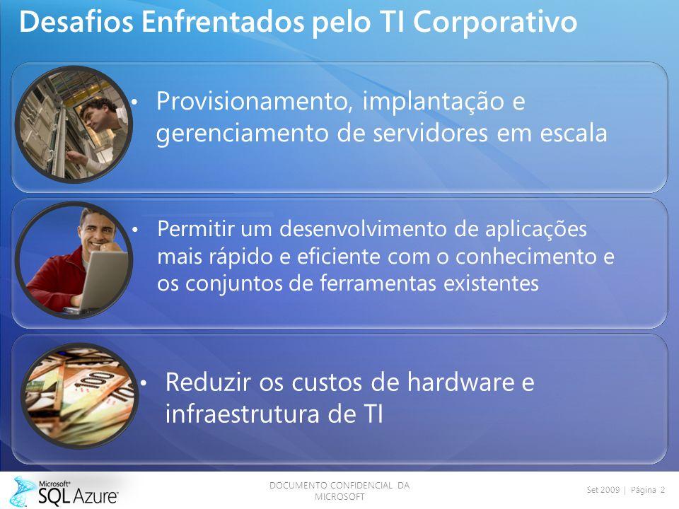 DOCUMENTO CONFIDENCIAL DA MICROSOFT Set 2009 | Página 2 Desafios Enfrentados pelo TI Corporativo Provisionamento, implantação e gerenciamento de servidores em escala Permitir um desenvolvimento de aplicações mais rápido e eficiente com o conhecimento e os conjuntos de ferramentas existentes Reduzir os custos de hardware e infraestrutura de TI