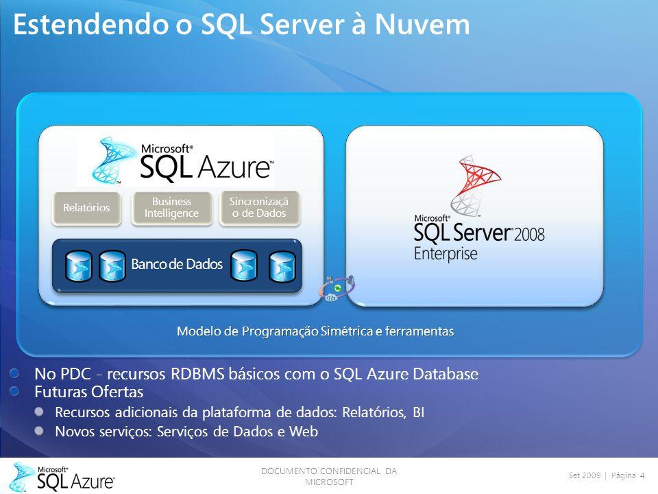 DOCUMENTO CONFIDENCIAL DA MICROSOFT Set 2009 | Página 4 Estendendo o SQL Server à Nuvem Banco de Dados Sincronizaçã o de Dados Relatórios Business Intelligence Modelo de Programação Simétrica e ferramentas No PDC - recursos RDBMS básicos com o SQL Azure Database Futuras Ofertas Recursos adicionais da plataforma de dados: Relatórios, BI Novos serviços: Serviços de Dados e Web