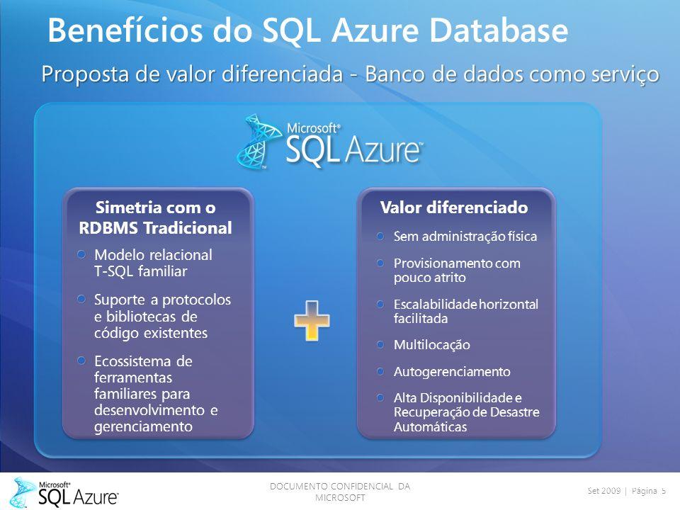 DOCUMENTO CONFIDENCIAL DA MICROSOFT Set 2009 | Página 5 Benefícios do SQL Azure Database Proposta de valor diferenciada - Banco de dados como serviço