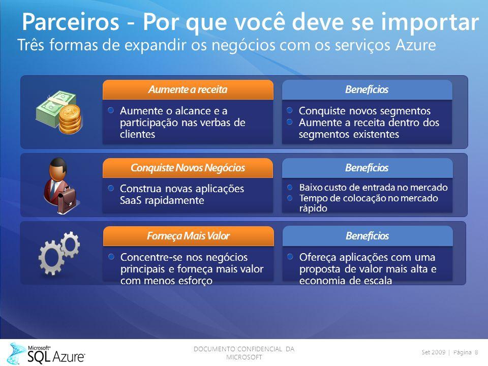 DOCUMENTO CONFIDENCIAL DA MICROSOFT Set 2009 | Página 8 Parceiros - Por que você deve se importar Três formas de expandir os negócios com os serviços