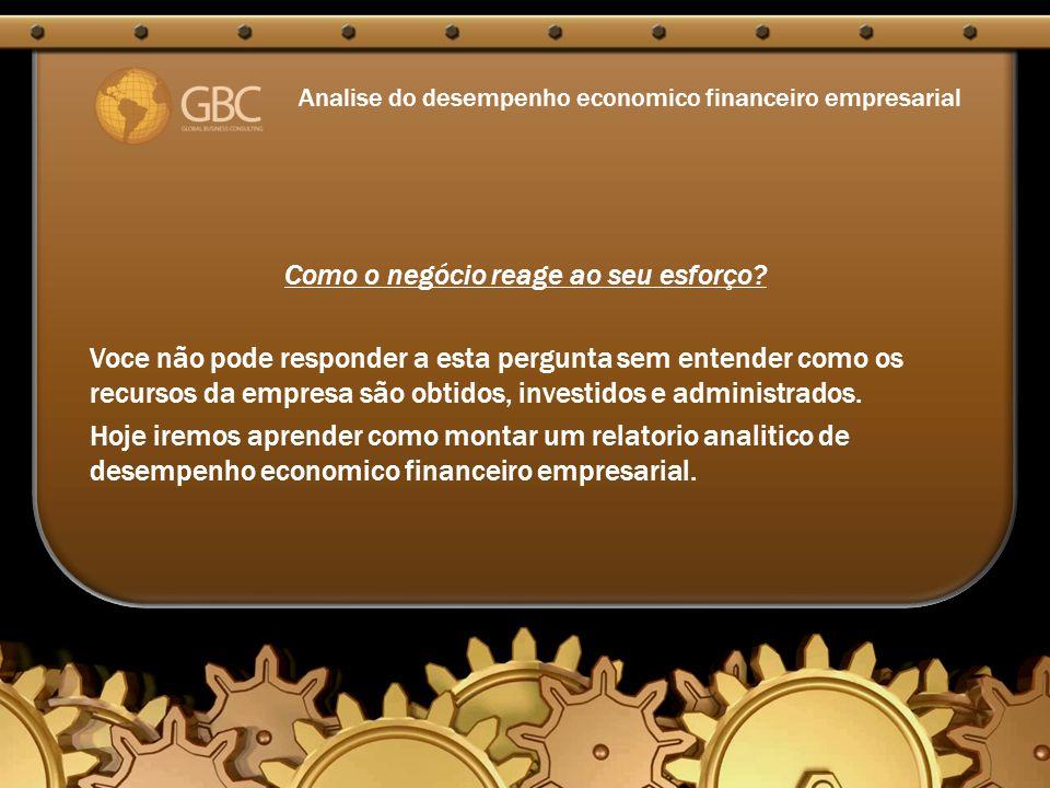 Analise do desempenho economico financeiro empresarial Como o negócio reage ao seu esforço.