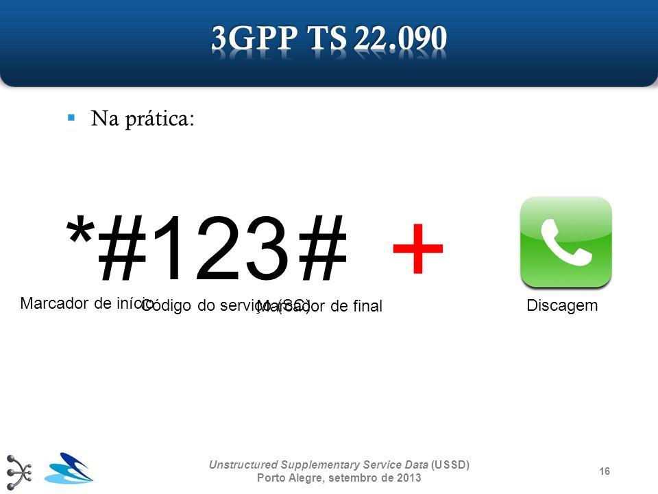 16 Unstructured Supplementary Service Data (USSD) Porto Alegre, setembro de 2013 Na prática: *# + 123# Marcador de início Marcador de final Código do