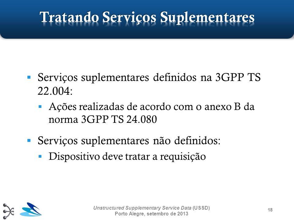 Serviços suplementares definidos na 3GPP TS 22.004: Ações realizadas de acordo com o anexo B da norma 3GPP TS 24.080 Serviços suplementares não defini