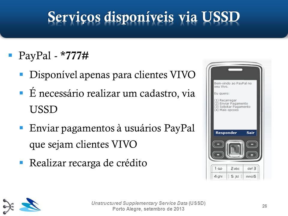 26 Unstructured Supplementary Service Data (USSD) Porto Alegre, setembro de 2013 PayPal - *777# Disponível apenas para clientes VIVO É necessário real