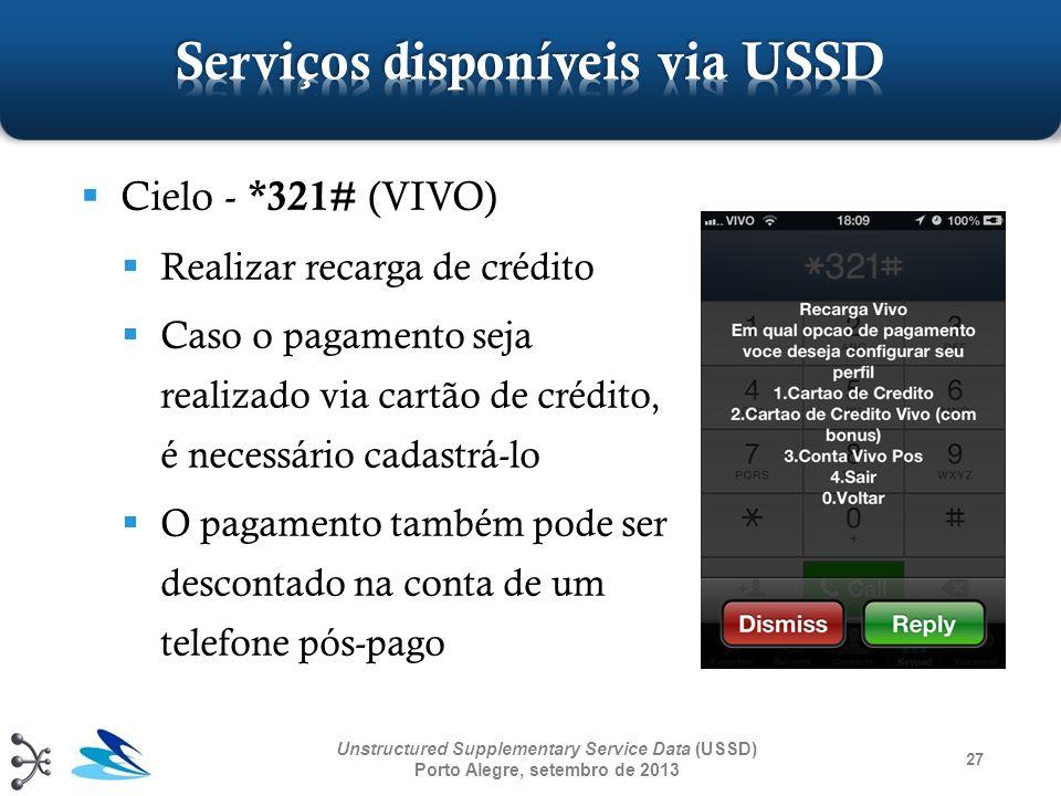 27 Unstructured Supplementary Service Data (USSD) Porto Alegre, setembro de 2013 Cielo - *321# (VIVO) Realizar recarga de crédito Caso o pagamento sej