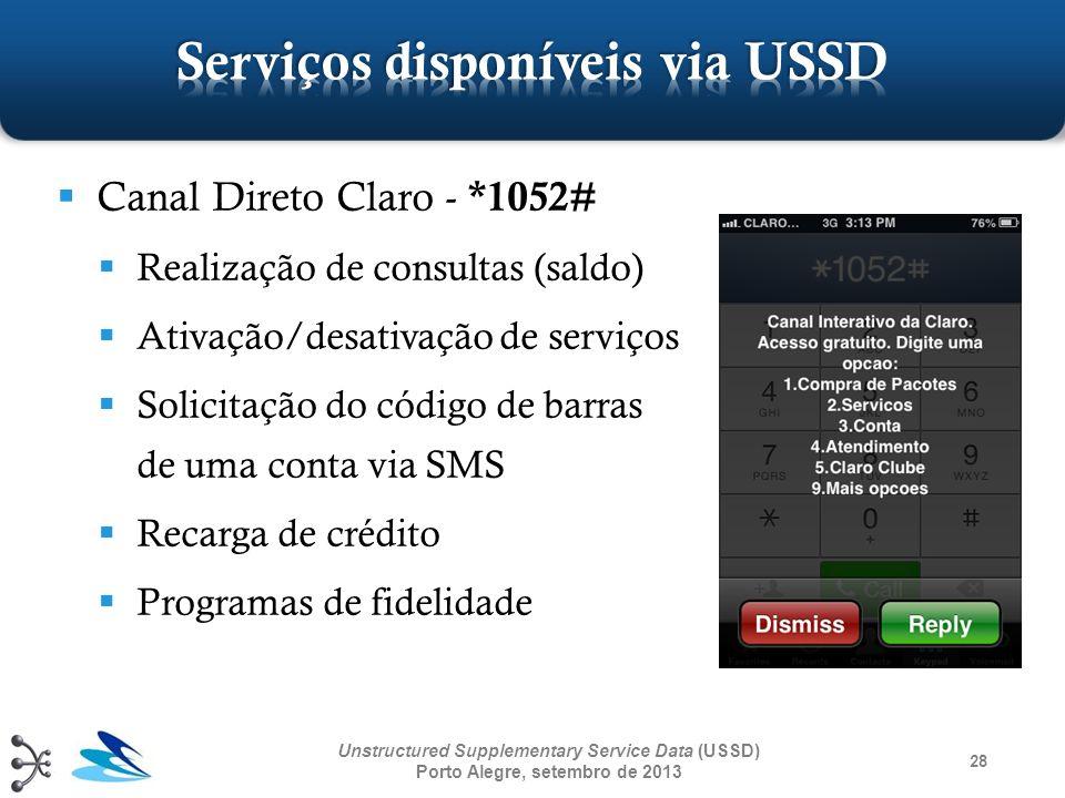 28 Unstructured Supplementary Service Data (USSD) Porto Alegre, setembro de 2013 Canal Direto Claro - *1052# Realização de consultas (saldo) Ativação/