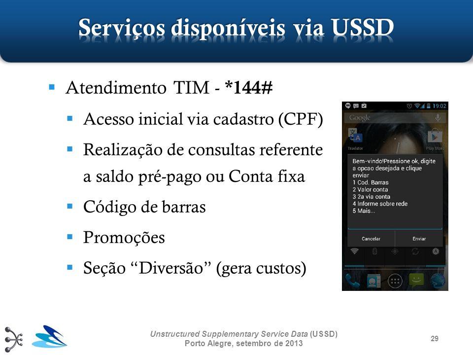29 Unstructured Supplementary Service Data (USSD) Porto Alegre, setembro de 2013 Atendimento TIM - *144# Acesso inicial via cadastro (CPF) Realização