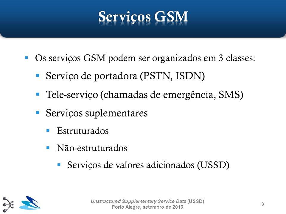 3 Os serviços GSM podem ser organizados em 3 classes: Serviço de portadora (PSTN, ISDN) Tele-serviço (chamadas de emergência, SMS) Serviços suplementa