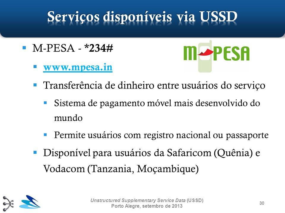 30 Unstructured Supplementary Service Data (USSD) Porto Alegre, setembro de 2013 M-PESA - *234# www.mpesa.in Transferência de dinheiro entre usuários