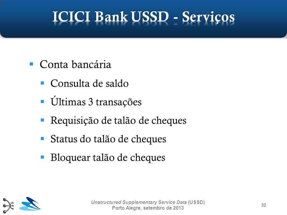 32 Unstructured Supplementary Service Data (USSD) Porto Alegre, setembro de 2013 Conta bancária Consulta de saldo Últimas 3 transações Requisição de t