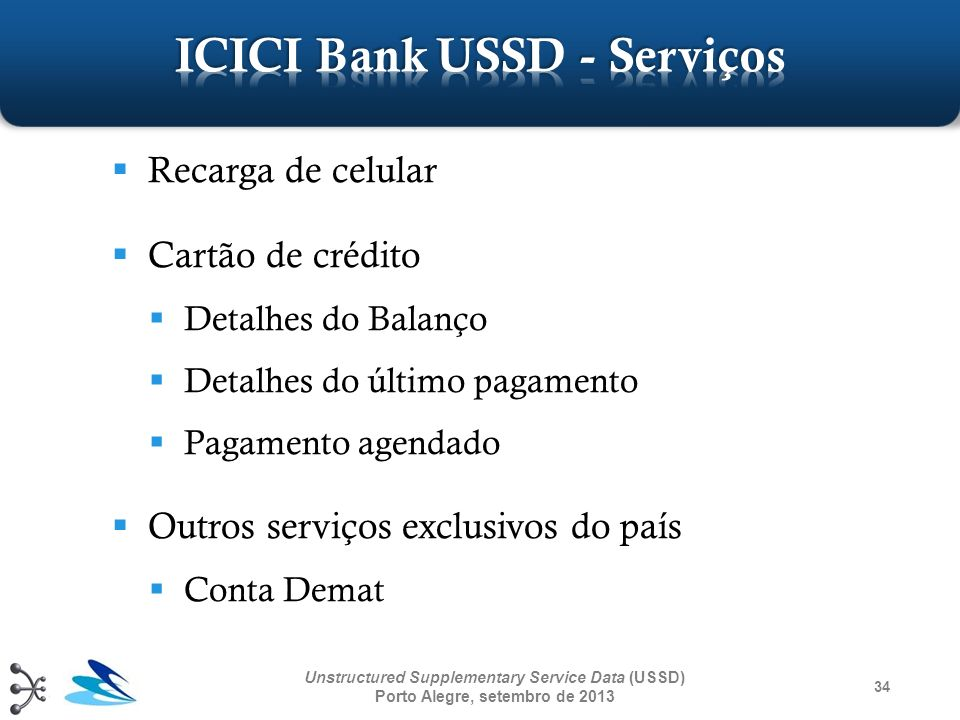34 Unstructured Supplementary Service Data (USSD) Porto Alegre, setembro de 2013 Recarga de celular Cartão de crédito Detalhes do Balanço Detalhes do