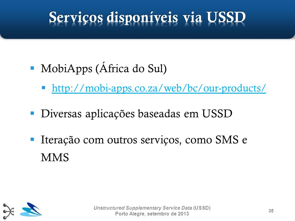 35 Unstructured Supplementary Service Data (USSD) Porto Alegre, setembro de 2013 MobiApps (África do Sul) http://mobi-apps.co.za/web/bc/our-products/