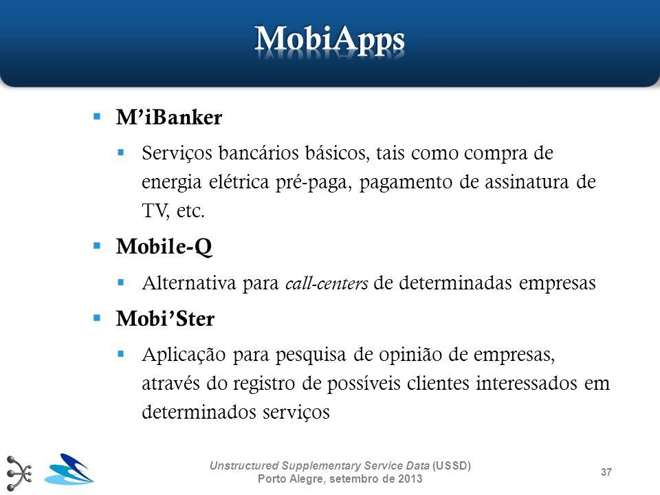 37 Unstructured Supplementary Service Data (USSD) Porto Alegre, setembro de 2013 MiBanker Serviços bancários básicos, tais como compra de energia elét