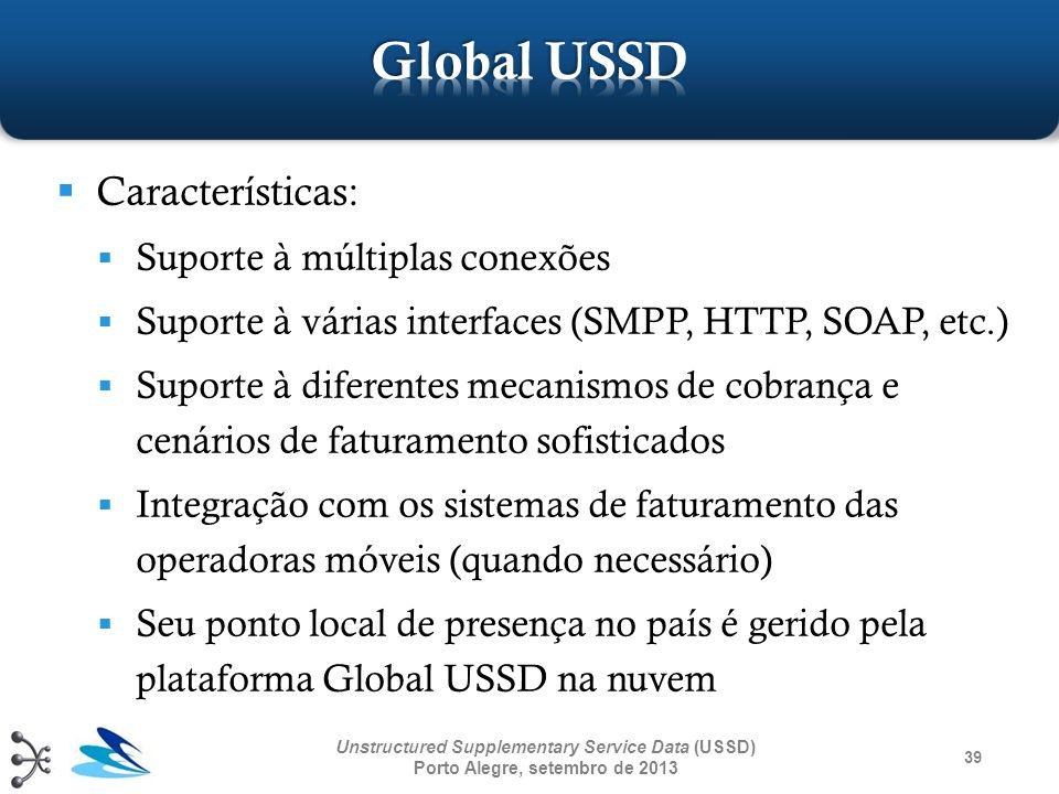39 Unstructured Supplementary Service Data (USSD) Porto Alegre, setembro de 2013 Características: Suporte à múltiplas conexões Suporte à várias interf