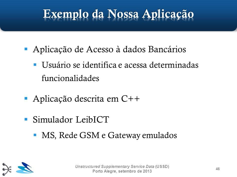 46 Unstructured Supplementary Service Data (USSD) Porto Alegre, setembro de 2013 Aplicação de Acesso à dados Bancários Usuário se identifica e acessa